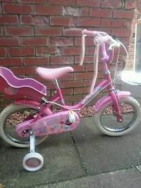 Girls Pink Raleigh Sunbeam Bike - Age 4+