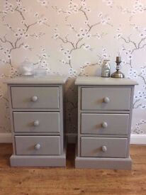 Solid Pine Bedside Cabinets Painted Laura Ashley Dove Tail Drawers Shabby Chic Sideboard
