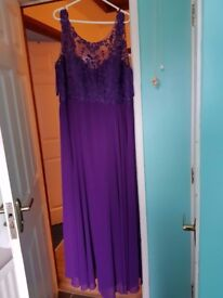 Purple Bridesmaid/ formal Dress with Corset Back and matching Wrap Size 20/22