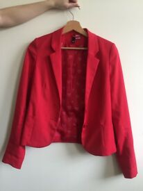 H&M red short jacket - size 10