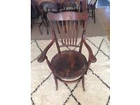 Vintage wood ercol danish style dining arm chair with leather seat