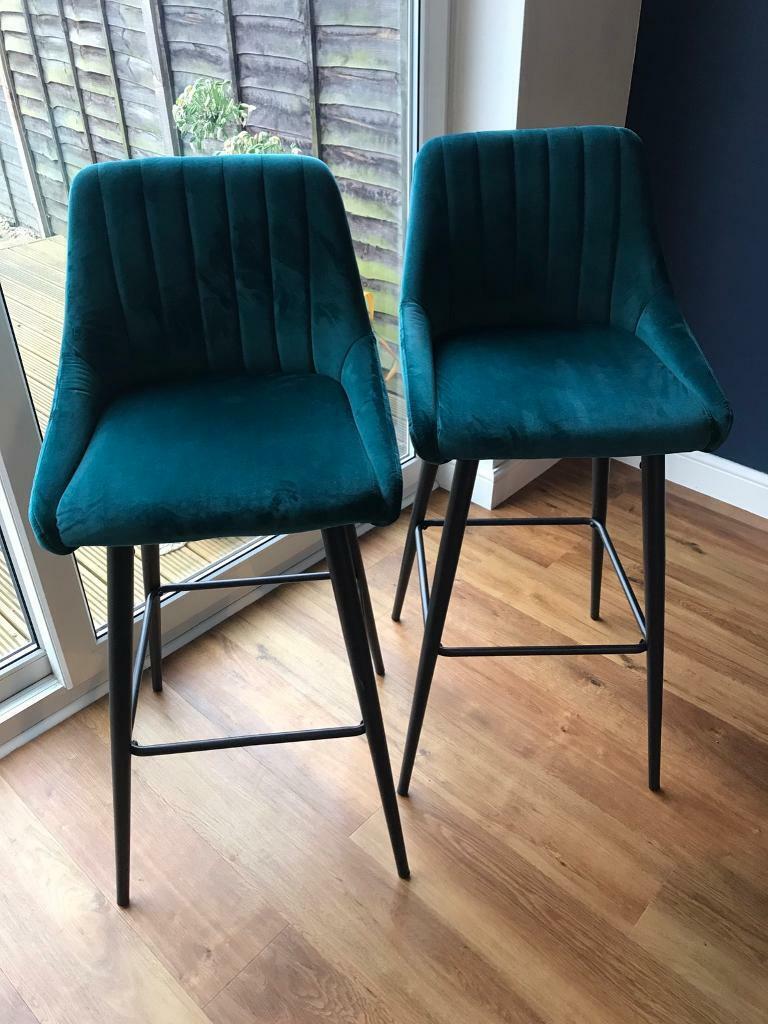 Pair of teal velvet bar stools   in Stratford upon Avon ...