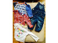 Baby girl's long-sleeved tops and dungarees