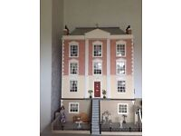 Complete Full Size Montgomery Hall Dolls House with Conservatory (Furnished & wired for lighting)