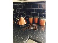 Morphy Richards Copper Pyramid Kettle + Copper Cannisters