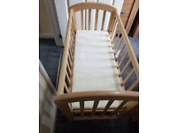 John Lewis Swinging crib with mattress and bedding for sale