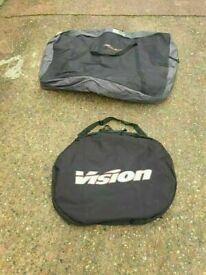 VISION Padded Travel Double Wheel and Avenir padded bike transport bag