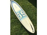 **Circle One Mini-mal surfboard 7ft 6ins in excellent condition + Circle One board bag**