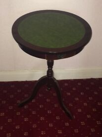 Antique Green Leather Topped Two Drawer Mahogany Drum Side / Occasional Table