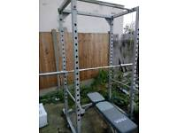 Used power rack, Olympic bar, 155kg plates, bench