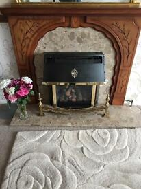 Fire with wooden surround and marble harth and back panel