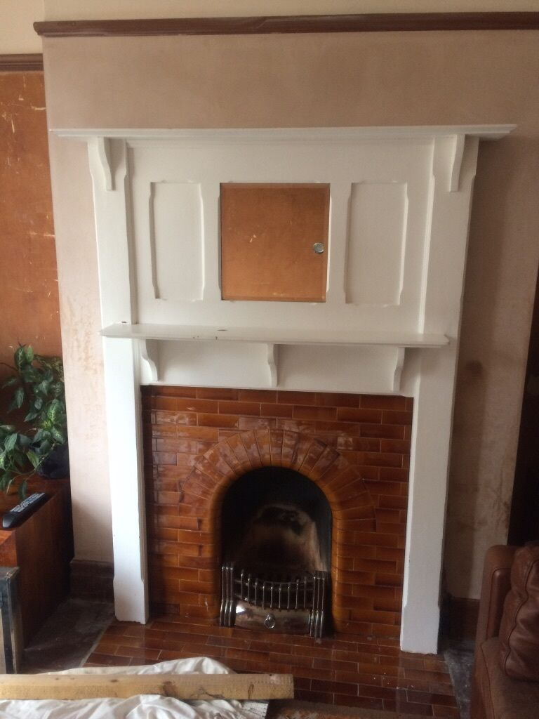 wooden fire surround with over mantel mirror edwardian art