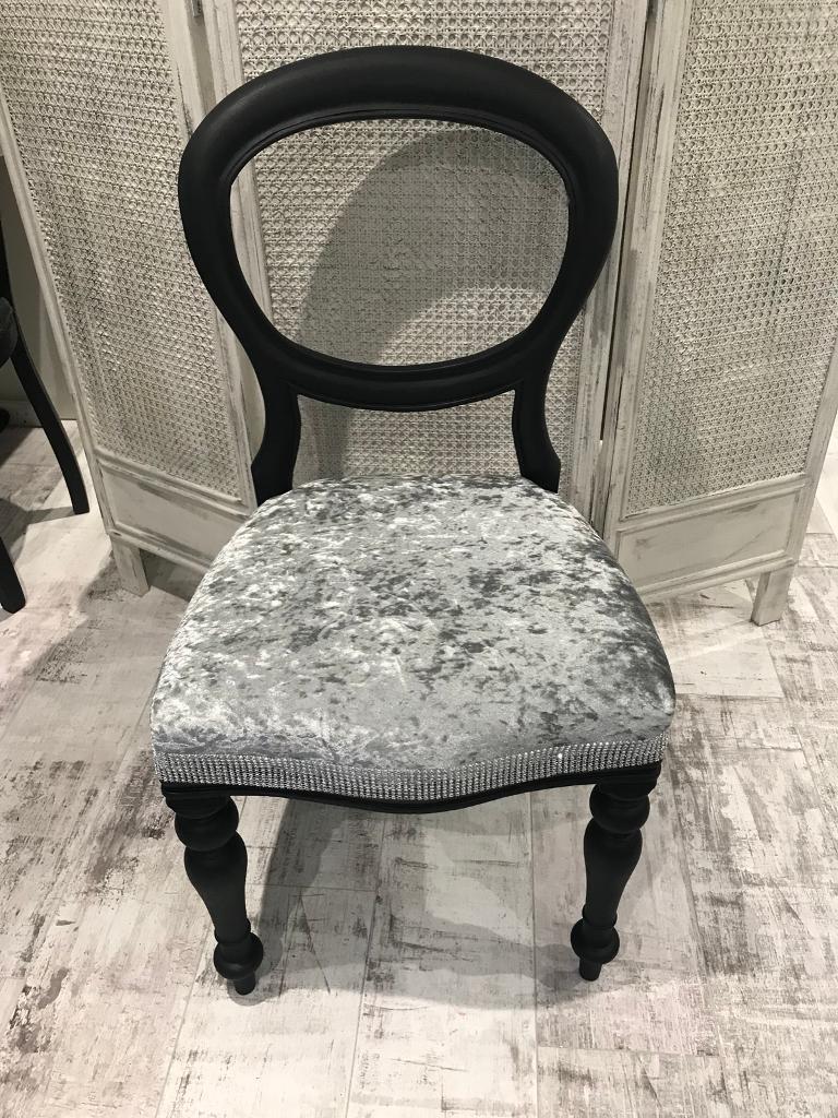 Black Amp Crushed Velvet Dressing Table Hall Bedroom Chair