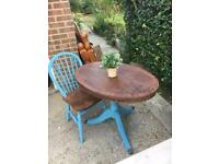 Small Oval Dining/Side Table and Chair