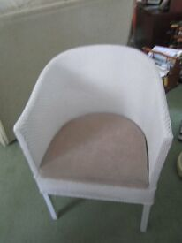 BEDROOM CHAIR, WHITE CANE WITH CUSHION