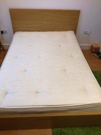 MALM Double bed Oak + mattress
