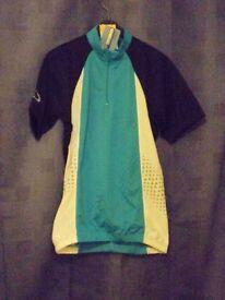 Unisex Crane Short Sleeved Cycling Shirt. Blue, Black & White – Size: Small