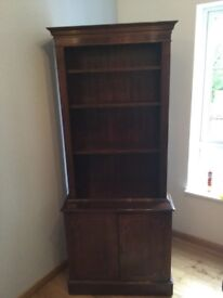 Mahogany bookcase with two door cabinet underneath. Good condition.