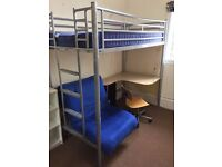 Bunk bed with desk, swivel chair and spare single bed. Tubular steel.