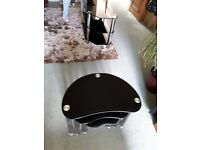 Tv stand & nest of matching coffee tables - Black glass & chrome