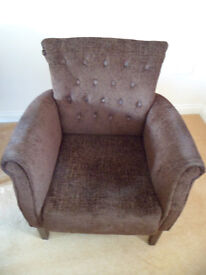 Chocolate Brown Armchair Tub High Button Back Chenille Collection from Bradford on Avon £10