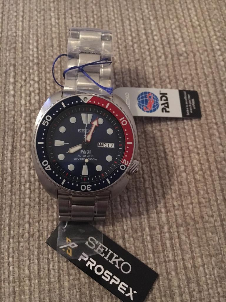 Seiko Special Ed Turtle PADI SRPA21K1in Dunfermline, FifeGumtree - Beautiful sought after Seiko watch. I have 2 so am moving this one on. It has a slight fault on the winder where the date/day movement winds through at times and doesnt catch. Watch works perfectly regarding timing etc though. With that in mind Im...