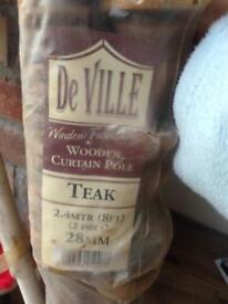 De ville wooden curtain pole, teak coloured
