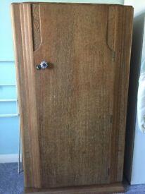 Ornate gentleman's wardrobe 1940s in golden oak
