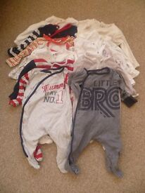 Baby boys' 3-6 months sleepsuits and vests bundle