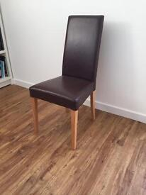 DINING ROOM CHAIRS X6, REAL LEATHER, SOLID OAK