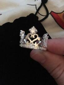 Sterling silver and crystal Crown ring - size N