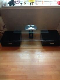 Black gloss and clear glass tv unit...£75