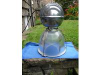HUGE VINTAGE 1960S HOLOPHANE POLISHED ALUMINIUM & GLASS INDUSTRIAL LIGHT SHOP BAR LIGHT
