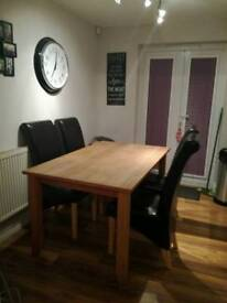 Table & 4 leather brown chairs