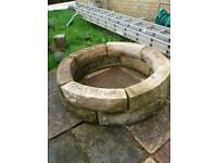 Stone garden victorian style ornate circular fish pond / well head garden feature