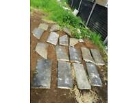 Granite coping stones well weathered