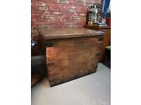 Antique early Victorian Wooden Silver Box Trunk Chest Storage with original trays.