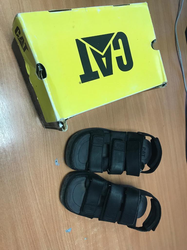 e9b4fd397c74d7 Ladies CAT sandals Walking Machines black leather size 7