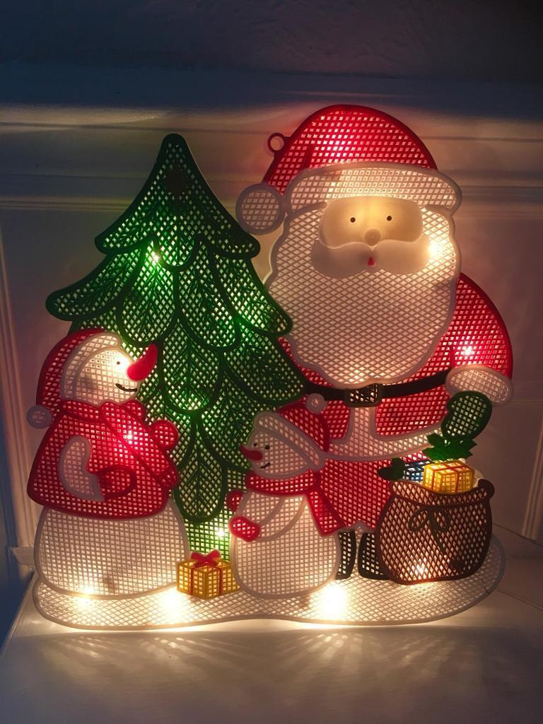 Christmas Santa Scene 20 Bulb Superbright Light Window Silhouette.