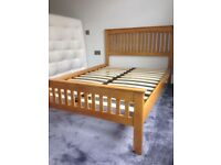 Brand New Small Double Marina Hardwood Bed-Frame in Oak. Free Delivery.
