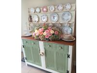 Vintage Kitchen Dresser - Cream with sage green doors - must look - outstanding quality