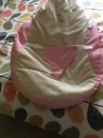 Pink baby bean bag and baby bouncer and matching play mat