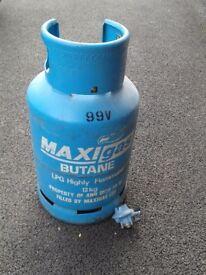 13kg butane gas bottle,part filled,plus regulator.
