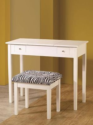 Casual White Flip Top Style Vanity Table and Stool Set by Coaster 300285 Vogue Vanity Stool