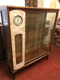 Glass Cabinet with clock smiths made in GB £30 ono
