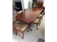 Dining room table and 6 chairs (2 carvers)
