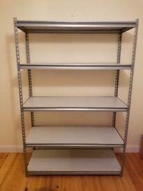 Metal frame racking with MDF shelves.
