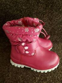 Girls Pink rose Welly Boots