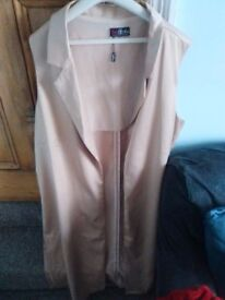Beige Satin effect Dress overcoat size 20-22