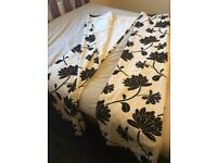 Black cream curtains wire top. Lined £8